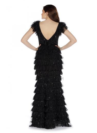 Pierre Cardin Fırfırlı Kesme Taşlı Uzun Abiye Elbise Siyah
